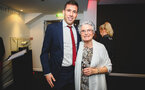 SOUTHAMPTON, ENGLAND - MAY 07:  Pierre-Emile H¿jbjerg (left) during the Southampton FC 2018/19 Player Awards pictured at St Marys Stadium on May 7, 2019 in Southampton, England. (Photo by James Bridle - Southampton FC/Southampton FC via Getty Images) SOUTHAMPTON, ENGLAND - MAY 07:  Pierre-Emile Højbjerg (left) during the Southampton FC 2018/19 Player Awards pictured at St Marys Stadium on May 7, 2019 in Southampton, England. (Photo by James Bridle - Southampton FC/Southampton FC via Getty Images)