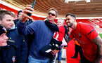 SOUTHAMPTON, ENGLAND - MAY 08: Danny Ings (right) has a photo with a fan during a Southampton FC open training session at St Mary's Stadium on May 08, 2019 in Southampton, England. (Photo by James Bridle - Southampton FC/Southampton FC via Getty Images)