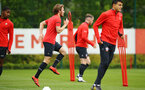 SOUTHAMPTON, ENGLAND - MAY 09: Jake Vokins (middle) during a Southampton FC training session pictured at Staplewood Training Ground on May 9, 2019 in Southampton, England. (Photo by James Bridle - Southampton FC/Southampton FC via Getty Images)