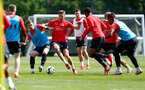 SOUTHAMPTON, ENGLAND - MAY 10: Callum Slattery(L) and Jan Bednarek during a Southampton FC training session at the Staplewood Campus on May 10, 2019 in Southampton, England. (Photo by Matt Watson/Southampton FC via Getty Images)
