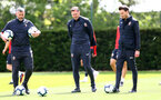 SOUTHAMPTON, ENGLAND - MAY 10: L to R Kelvin Davis, Ralph Hasenhuttl and Danny Röhl during a Southampton FC training session at the Staplewood Campus on May 10, 2019 in Southampton, England. (Photo by Matt Watson/Southampton FC via Getty Images)