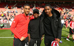 SOUTHAMPTON, ENGLAND - MAY 12: LtoR Yan Valery, Michael Obafemi, Kayne Ramsay during the lap of honor for the Premier League match between Southampton FC and Huddersfield Town at St Mary's Stadium on May 12, 2019 in Southampton, United Kingdom. (Photo by James Bridle - Southampton FC/Southampton FC via Getty Images)