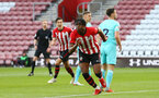 SOUTHAMPTON, ENGLAND - MAY 13: Dan Nlundulu (Left) scores for Southampton FC from a header during the U23s PL2 Play off final between Southampton and Newcastle United pictured at St. Mary's Stadium on May 13, 2019 in Southampton, England. (Photo by James Bridle - Southampton FC/Southampton FC via Getty Images)