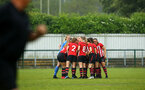 SOUTHAMPTON, ENGLAND - MAY 19: Women's huddle ahead of kick off for the Womens Cup Final match between Southampton FC and Oxford pictured at AFC Totten on May 19, 2019 in Southampton, England. (Photo by James Bridle - Southampton FC/Southampton FC via Getty Images)