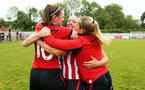 SOUTHAMPTON, ENGLAND - MAY 19: LtoR Ella Pusey, Shelly Provan hug after winning  the Womens Cup Final match between Southampton FC and Oxford pictured at AFC Totten on May 19, 2019 in Southampton, England. (Photo by James Bridle - Southampton FC/Southampton FC via Getty Images)