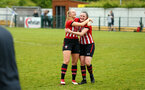 SOUTHAMPTON, ENGLAND - MAY 19: LtoR Caitlin Morris hugs Ella Pusey after the final whistle for the Womens Cup Final match between Southampton FC and Oxford pictured at AFC Totten on May 19, 2019 in Southampton, England. (Photo by James Bridle - Southampton FC/Southampton FC via Getty Images)