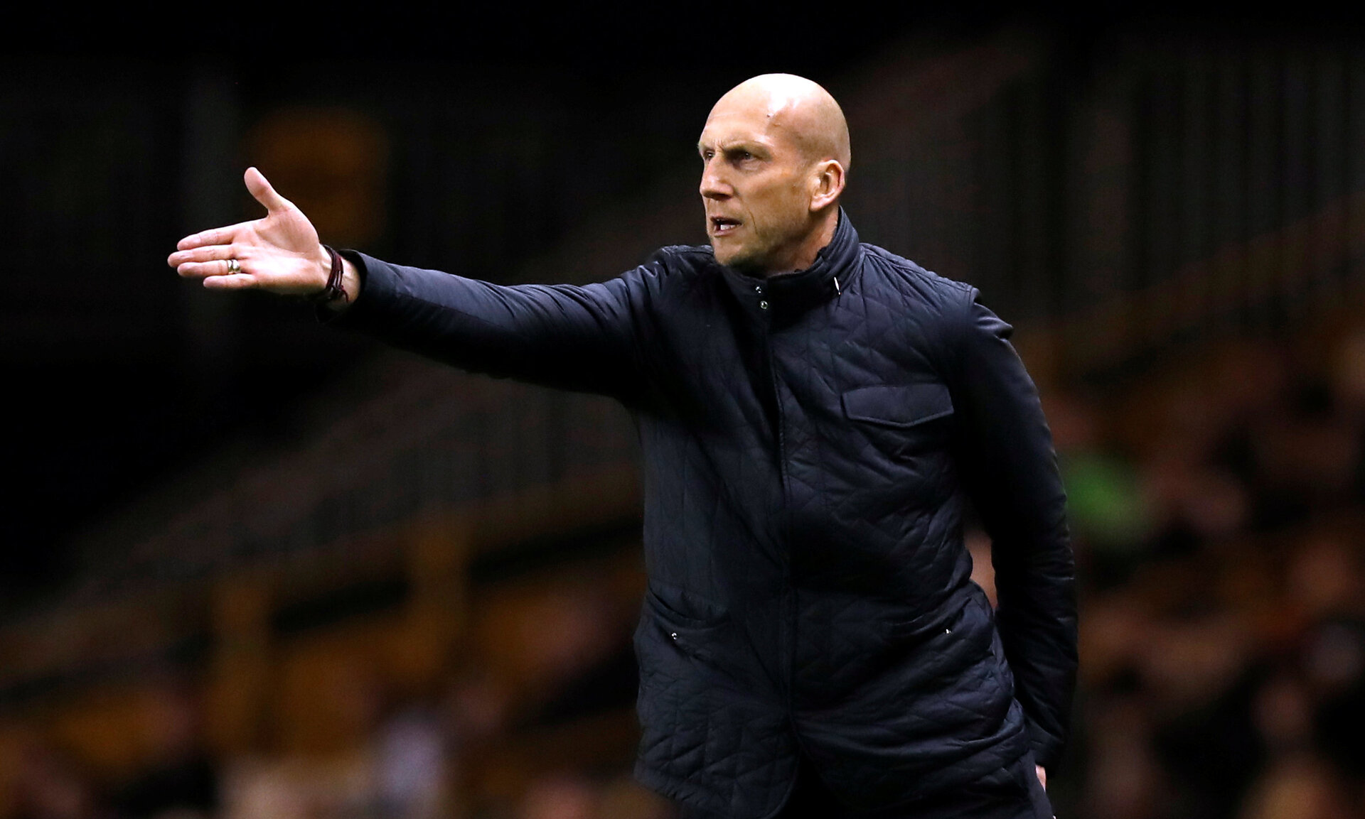 "Soccer Football - Championship - Wolverhampton Wanderers vs Reading - Molineux Stadium, Wolverhampton, Britain - March 13, 2018   Reading manager Jaap Stam gestures   Action Images/Peter Cziborra    EDITORIAL USE ONLY. No use with unauthorized audio, video, data, fixture lists, club/league logos or ""live"" services. Online in-match use limited to 75 images, no video emulation. No use in betting, games or single club/league/player publications. Please contact your account representative for further details."