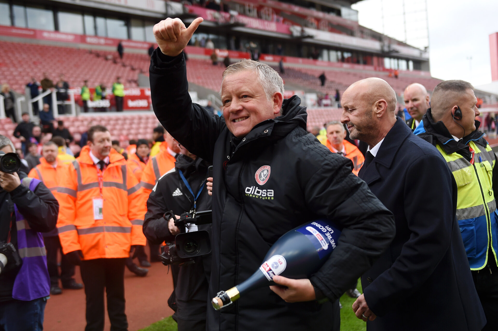 STOKE ON TRENT, ENGLAND - MAY 05:  Chris Wilder, Manager of Sheffield United celebrates their promotion after the Sky Bet Championship match between Stoke City and Sheffield United at Bet365 Stadium on May 05, 2019 in Stoke on Trent, England. (Photo by Nathan Stirk/Getty Images)
