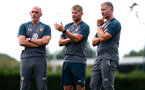 SOUTHAMPTON, ENGLAND - JULY 03: Coaching staff L to R Craig Flemming, Dave Watson and Kelvin Davis during a Southampton FC pre-season training session at the Staplewood Campus on July 03, 2019 in Southampton, England. (Photo by Matt Watson/Southampton FC via Getty Images)