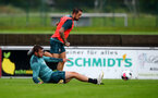 SCHRUNS, AUSTRIA - JULY 12: Jack Stephens(L) challenges Danny Ings during a Southampton FC pre season training session on July 12, 2019 in Schruns, Austria. (Photo by Matt Watson/Southampton FC via Getty Images)