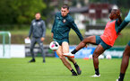 SCHRUNS, AUSTRIA - JULY 12: Pierre-Emile Hojbjerg(L) and Michael Obafemi during a Southampton FC pre season training session on July 12, 2019 in Schruns, Austria. (Photo by Matt Watson/Southampton FC via Getty Images)