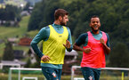 SCHRUNS, AUSTRIA - JULY 13: Jack Stephens(L) and Ryan Bertrand during a Southampton FC pre season training session on July 13, 2019 in Schruns, Austria. (Photo by Matt Watson/Southampton FC via Getty Images)