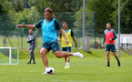 SCHRUNS, AUSTRIA - JULY 13: Jannik Vestergaard during a Southampton FC pre season training session on July 13, 2019 in Schruns, Austria. (Photo by Matt Watson/Southampton FC via Getty Images)
