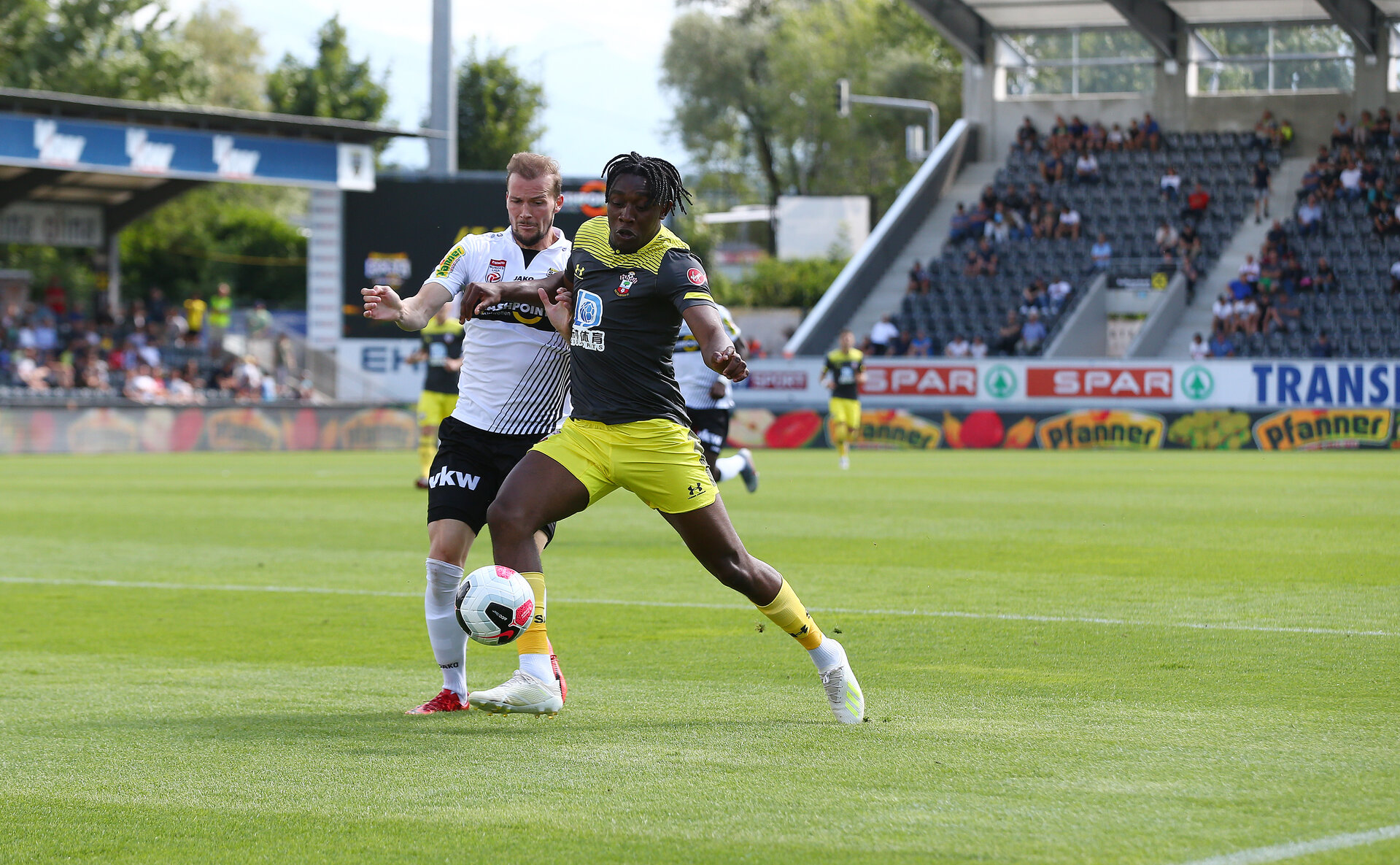 ALTACH, AUSTRIA - JULY 14: Dan N'Lundulu(R) of Southampton during the pre-season friendly match between SCR Altach and Southampton FC at The Cashpoint Arena on July 14, 2019 in Altach, Austria. (Photo by Matt Watson/Southampton FC via Getty Images)