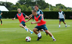 SOUTHAMPTON, ENGLAND - JULY 16: James Ward-Prowse (middle) during a Southampton FC  training session at Staplewood Complex on July 16, 2019 in Southampton, England. (Photo by James Bridle - Southampton FC/Southampton FC via Getty Images)