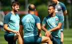 SOUTHAMPTON, ENGLAND - JULY 16: LtoR Jack Stephens, Nathan Redmond, Ryan Bertrand during a Southampton FC  training session at Staplewood Complex on July 16, 2019 in Southampton, England. (Photo by James Bridle - Southampton FC/Southampton FC via Getty Images)