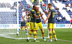 PRESTON, ENGLAND - JULY 20: LtoR Nathan Redmond, Josh Sims, Stuart Armstrong during the pre-season friendly game between Preston North End and Southampton FC pictured at Deepdale on July 20, 2019 in Preston, England. (Photo by James Bridle - Southampton FC/Southampton FC via Getty Images)