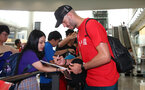 Fraser Forster as Southampton FC arrive at Hong Kong Airport, for their Pre Season trip to Macau, China, 22nd July 2019