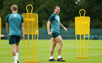 DUBLIN, ENGLAND - JULY 24: Pierre-Emile Hojbjerg (middle) during a Southampton FC training session pictured at Carton House Spa and Resort for Pre-Season Training on July 24, 2019 in Southampton, England. (Photo by James Bridle - Southampton FC/Southampton FC via Getty Images)