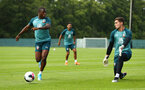 DUBLIN, ENGLAND - JULY 24: LtoR Michael Obafemi (left) shoots towards GK Harry Lewis during a Southampton FC training session pictured at Carton House Spa and Resort for Pre-Season Training on July 24, 2019 in Southampton, England. (Photo by James Bridle - Southampton FC/Southampton FC via Getty Images)