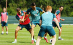 DUBLIN, ENGLAND - JULY 27: LtoR Jan Bednarek takes on Wesley Hoedt during a Southampton FC Training session pictured at Carton House Spa and Resort for Pre-Season Training on July 27, 2019 in Southampton, England. (Photo by James Bridle - Southampton FC/Southampton FC via Getty Images)