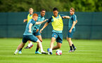 DUBLIN, ENGLAND - JULY 27: LtoR Harry Reed, takes on Maya Yoshida during a Southampton FC Training session pictured at Carton House Spa and Resort for Pre-Season Training on July 27, 2019 in Southampton, England. (Photo by James Bridle - Southampton FC/Southampton FC via Getty Images)