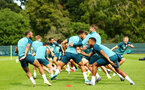 DUBLIN, ENGLAND - JULY 27: LtoR Nathan Redmond with Ryan Bertrand during a warm up exercise for a Southampton FC Training session pictured at Carton House Spa and Resort for Pre-Season Training on July 27, 2019 in Southampton, England. (Photo by James Bridle - Southampton FC/Southampton FC via Getty Images)