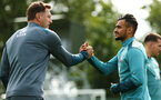 DUBLIN, ENGLAND - JULY 27: LtoR Ralph Hasenhuttl shakes hands with Sofiane Boufal  during a Southampton FC Training session pictured at Carton House Spa and Resort for Pre-Season Training on July 27, 2019 in Southampton, England. (Photo by James Bridle - Southampton FC/Southampton FC via Getty Images)