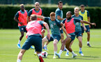 SOUTHAMPTON, ENGLAND - JULY 31: Harrison Reed(L) and Nathan Redmond during a Southampton FC training session at the Staplewood Campus on July 31, 2019 in Southampton, England. (Photo by Matt Watson/Southampton FC via Getty Images)