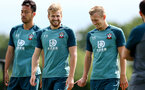 SOUTHAMPTON, ENGLAND - JULY 31: Stuart Armstrong(L) and James Ward-Prowse during a Southampton FC training session at the Staplewood Campus on July 31, 2019 in Southampton, England. (Photo by Matt Watson/Southampton FC via Getty Images)