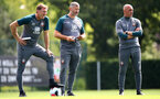 SOUTHAMPTON, ENGLAND - AUGUST 02: L to R Ralph Hasenhuttl, Kelvin Davis and Craig Flemming during a Southampton FC pre season training session at the Staplewood Campus on August 02, 2019 in Southampton, England. (Photo by Matt Watson/Southampton FC via Getty Images)