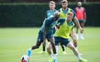 SOUTHAMPTON, ENGLAND - AUGUST 02: Moussa Djenepo(L) and Harrison Reed during a Southampton FC pre season training session at the Staplewood Campus on August 02, 2019 in Southampton, England. (Photo by Matt Watson/Southampton FC via Getty Images)