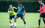 SOUTHAMPTON, ENGLAND - AUGUST 02: Harrison Reed(L) and Ché Adams during a Southampton FC pre season training session at the Staplewood Campus on August 02, 2019 in Southampton, England. (Photo by Matt Watson/Southampton FC via Getty Images)