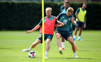 SOUTHAMPTON, ENGLAND - AUGUST 02: Josh Sims(L) and Stuart Armstrong during a Southampton FC pre season training session at the Staplewood Campus on August 02, 2019 in Southampton, England. (Photo by Matt Watson/Southampton FC via Getty Images)