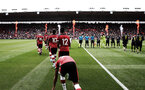 SOUTHAMPTON, ENGLAND - AUGUST 03: Southampton FC players walk out on to the pitch during the Pre-Season Friendly match between Southampton FC and FC Köln at St. Mary's Stadium on August 03, 2019 in Southampton, England. (Photo by Matt Watson/Southampton FC via Getty Images,)