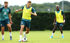 SOUTHAMPTON, ENGLAND - AUGUST 08: Jan Bednarek (middle)  during a first team training session pictured at Staplewood Training Ground on August 06, 2019 in Southampton, England. (Photo by James Bridle - Southampton FC/Southampton FC via Getty Images)
