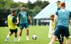 SOUTHAMPTON, ENGLAND - AUGUST 08: LtoR Danny Ings, Shane Long during a first team training session pictured at Staplewood Training Ground on August 06, 2019 in Southampton, England. (Photo by James Bridle - Southampton FC/Southampton FC via Getty Images)