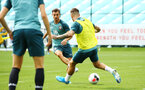 SOUTHAMPTON, ENGLAND - AUGUST 08: Cedric Soares (middle) during a first team training session pictured at Staplewood Training Ground on August 06, 2019 in Southampton, England. (Photo by James Bridle - Southampton FC/Southampton FC via Getty Images)