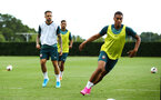 SOUTHAMPTON, ENGLAND - AUGUST 07: Yan Valery (right) during a Southampton FC training session pictured at Staplewood Training Ground on August 07, 2019 in Southampton, England. (Photo by James Bridle - Southampton FC/Southampton FC via Getty Images)