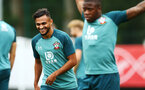 SOUTHAMPTON, ENGLAND - AUGUST 08: Sofiane Boufal  (left) during a Southampton FC Training Session pictured at Staplewood Training Ground on August 08, 2019 in Southampton, England. (Photo by James Bridle - Southampton FC/Southampton FC via Getty Images)