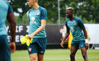 SOUTHAMPTON, ENGLAND - AUGUST 08: Moussa Djenepo  (right) during a Southampton FC Training Session pictured at Staplewood Training Ground on August 08, 2019 in Southampton, England. (Photo by James Bridle - Southampton FC/Southampton FC via Getty Images)
