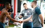 SOUTHAMPTON, ENGLAND - AUGUST 11: Southampton FC's latest signing Kevin Danso(L) during his first day at the Staplewood Campus on August 11, 2019 in Southampton, England. (Photo by Matt Watson/Southampton FC via Getty Images)