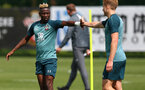 SOUTHAMPTON, ENGLAND - AUGUST 13: Moussa Djenepo(L) and Stuart Armstrong during a Southampton FC training session at the Staplewood Campus on August 13, 2019 in Southampton, England. (Photo by Matt Watson/Southampton FC via Getty Images)
