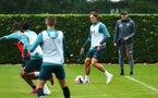 SOUTHAMPTON, ENGLAND - AUGUST 14: Jannik Vestergaard (right) during a Southampton FC Training session pictured on August 14, 2019 in Southampton, England. (Photo by James Bridle - Southampton FC/Southampton FC via Getty Images)