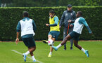SOUTHAMPTON, ENGLAND - AUGUST 14: Wesley Hoedt (middle) Michael Obafemi  during a Southampton FC Training session pictured on August 14, 2019 in Southampton, England. (Photo by James Bridle - Southampton FC/Southampton FC via Getty Images)