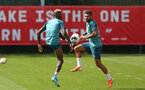 SOUTHAMPTON, ENGLAND - AUGUST 15: LtoR Moussa Djenepo and Sofiane Boufal during a Southampton FC Training session pictured on August 15, 2019 in Southampton, England. (Photo by James Bridle - Southampton FC/Southampton FC via Getty Images)