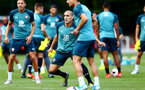 SOUTHAMPTON, ENGLAND - AUGUST 15: Oriol Romeu (middle) during a Southampton FC Training session pictured on August 15, 2019 in Southampton, England. (Photo by James Bridle - Southampton FC/Southampton FC via Getty Images)