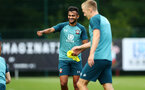 SOUTHAMPTON, ENGLAND - AUGUST 15: Sofiane Boufal  (left) during a Southampton FC Training session pictured on August 15, 2019 in Southampton, England. (Photo by James Bridle - Southampton FC/Southampton FC via Getty Images)
