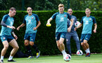 SOUTHAMPTON, ENGLAND - AUGUST 15: Stuart Armstrong (middle) during a Southampton FC Training session pictured on August 15, 2019 in Southampton, England. (Photo by James Bridle - Southampton FC/Southampton FC via Getty Images)