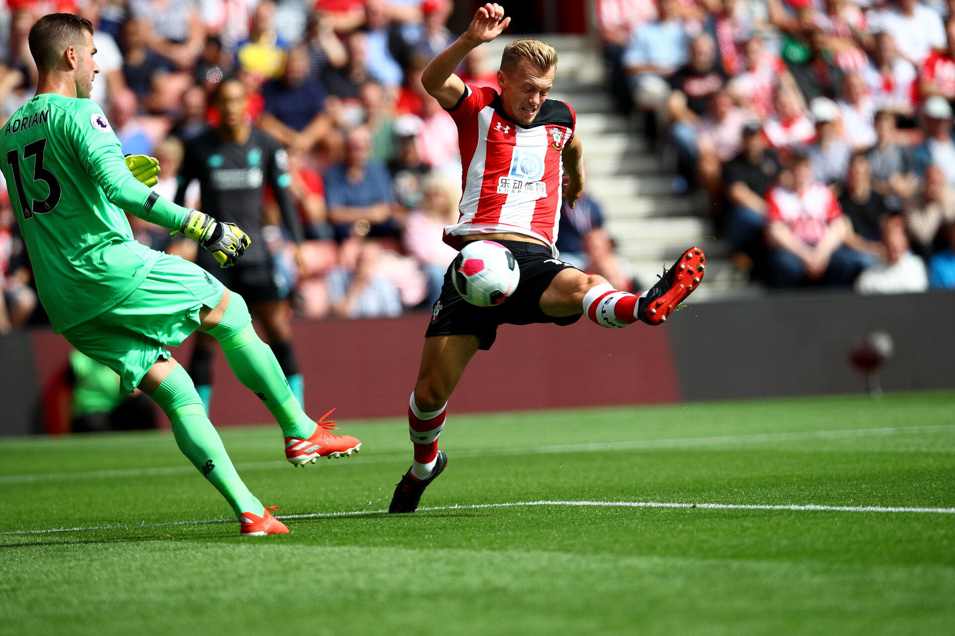 SOUTHAMPTON, ENGLAND - AUGUST 17: James Ward-Prowse(R) of Southampton closes down Adrian of Liverpool during the Premier League match between Southampton FC and Liverpool FC at St Mary's Stadium on August 17, 2019 in Southampton, United Kingdom. (Photo by Matt Watson/Southampton FC via Getty Images)
